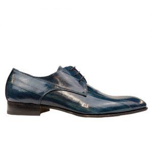 435 scarpa stringata da cerimonia anguilla blu profilo