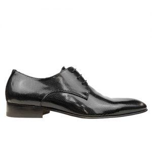 435 scarpa stringata da cerimonia vernice microforata nero profilo
