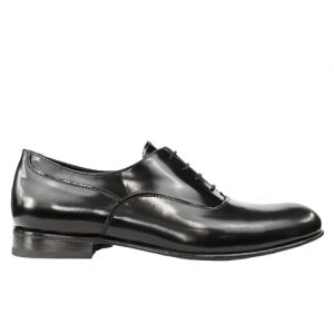 463 scarpa stringata cerimnia forma inglese spazzolato nero profilo