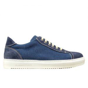 964 scarpa sportiva scamosciato piu tela blu profilo