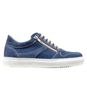 967 scarpa doppia cerniera sportiva scamosciato blu tela profilo