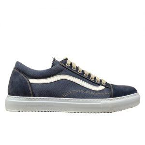 970 scarpa sportiva camoscio blu piu tela profilo