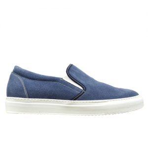 973 scarpa sportiva camoscio azzurro profilo