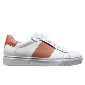 650 sneakers bianca riporto arancio donna profilo