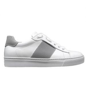 650 sneakers bianca riporto grigio donna fianco