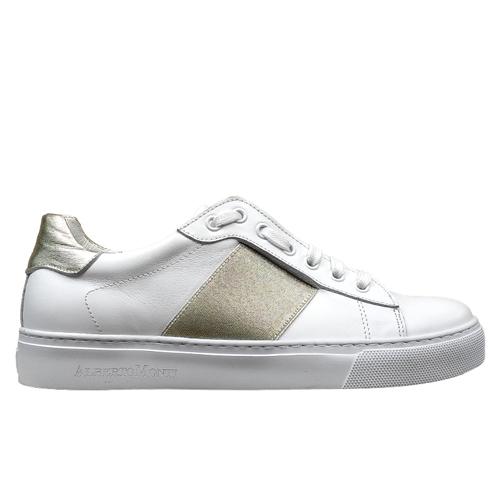 650 sneakers bianca riporto oro donna profilo