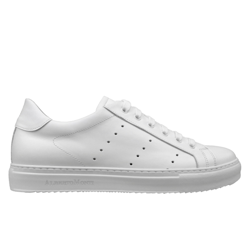 978 sneakers nappa bianca fondo cucito bianco profilo