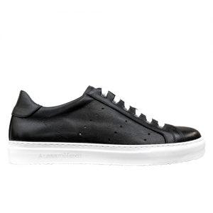 sneakers nappa nero fondo cucito bianco profilo