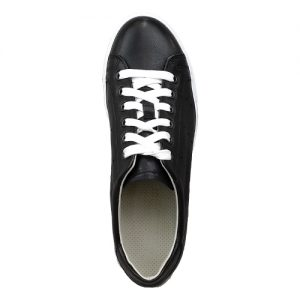 sneakers nappa nero fondo cucito bianco sopra