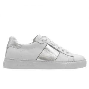 sneakers donna bianco riporto argento profilo
